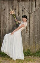 Scoop Illusion A Line Cap Sleeves Floor Length White Lace Chiffon Wedding Dress  - $125.00