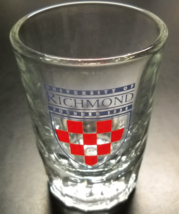 University of Richmond Shot Glass Double Size Red Checkerboard in Blue Shield - $8.99