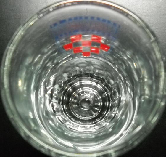 University of Richmond Shot Glass Double Size Red Checkerboard in Blue Shield