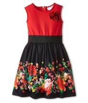 Little Girls Red/Black Floral Border Print Fit-N-Flare Dress, Us Angels