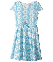 Us Angels - Daisy Lace Cap Sleeve Dress w/ Belt & Full Skirt