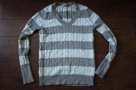 Ann Taylor LOFT Women S Sweater Stripes metallic cable knit EUC Beige White - $11.39