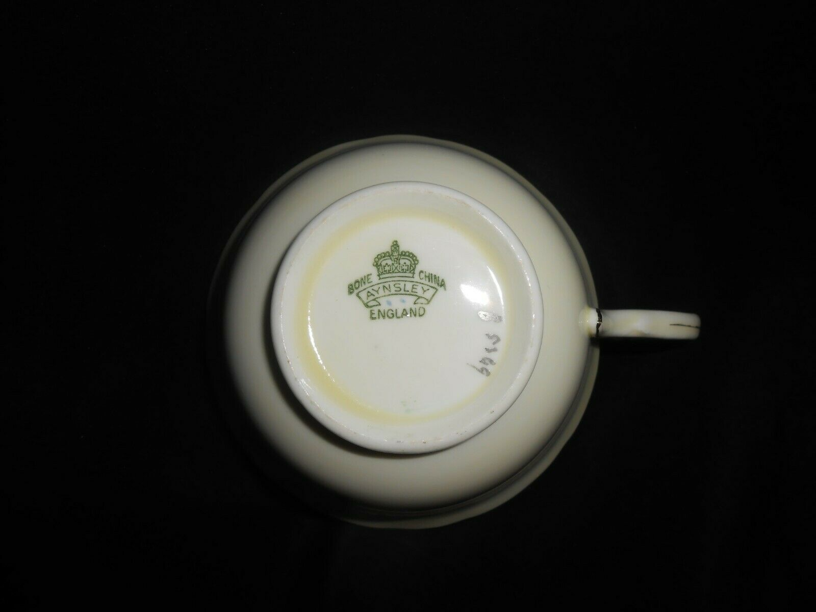 Aynsley Teacup and Saucer Green Gold Open Roses Vintage Floral Tea Cup & Saucer image 4