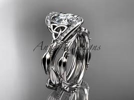 Platinum  celtic trinity knot wedding set, Moissanite center stone CT764S - $2,790.00