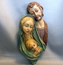 Beautiful 3-D Plaque of MARY & JOSEPH & JESUS as a Boy - Marked RR Roman... - $46.00