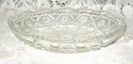Early American Pressed Glass Oval Relish Dish- Hobstar Feather-Saw Tooth... - $11.00