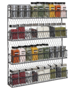 Gray/Black Country Rustic Cabinet Wall Mounted Spice Rack Storage Home Organizer - £49.87 GBP