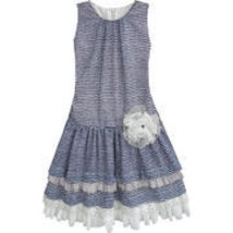 Isobella & Chloe - Big Girls BRIDGET Drop Waist Striped Dress