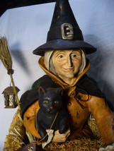 Bethany Lowe Halloween Witch Riding a Sponge Car & Black Cat no. T4032 image 5
