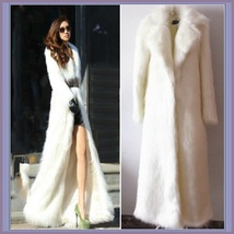Long Full Length Lapel Collar Faux Fur Fashion Coat White Leopard Black Red Pink