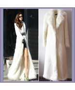 Long Full Length Lapel Collar Faux Fur Fashion Coat White Leopard Black ... - $238.95
