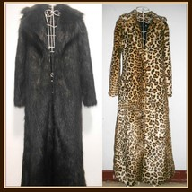 Long Full Length Lapel Collar Faux Fur Fashion Coat White Leopard Black Red Pink image 2