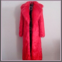 Long Full Length Lapel Collar Faux Fur Fashion Coat White Leopard Black Red Pink image 3