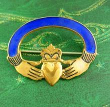 Vintage guilloche enamel Brooch IRISH Claddagh Ireland Celtic gold Heart... - $165.00