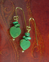 Vintage 14kt Heart Earrings Gold Turquoise artisan french wire earrings hallmark - $65.00