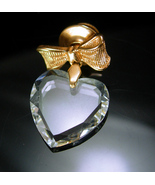 Swarovki Heart Tie Tack Vintage Cut glass dangle Gold Bow Lapel Pin Swee... - $65.00