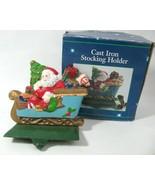 Vtg Solid Cast Iron Stocking Holder Hanger Santa in Sleigh Christmas Hea... - $19.75
