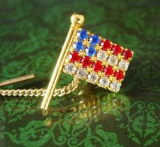 Rhinestone Glad Tie tack Patriotic USA Star Flag Tie Tac  Vintage Red Wh... - $55.00