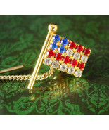 Rhinestone Glad Tie tack Patriotic USA Star Flag Tie Tac  Vintage Red Wh... - $55.00