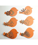 Paper Birds Embellishments 6 Pc Dark Orange Bro... - $1.85