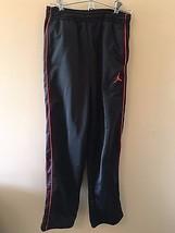 Nike Basketball Jumpman Logo Black Athletic Pants Red Stripes Sweatpants... - $18.95