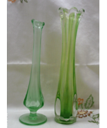 Two Vintage Green Glass Art Glass Vases / Viking Glass Bud Vase / Vaseli... - $18.00