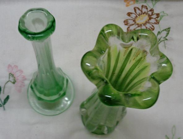 Two Vintage Green Glass Art Glass Vases / Viking Glass Bud Vase / Vaseline Glass