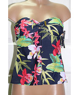 NEW Tommy Hilfiger Tie Front Bandeau Tankini Top Swimwear size XS Strapless - $27.22