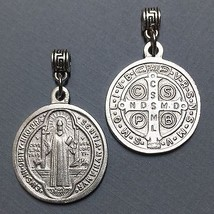 Saint Benedict of Nursia Cross Protection Medal Pendant Charm Silver Tone 1 Inch - $14.99