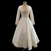 Rosyfancy Chic Embroidery Plunging V-neck Long Sleeves Tea Length Weddin... - $315.00