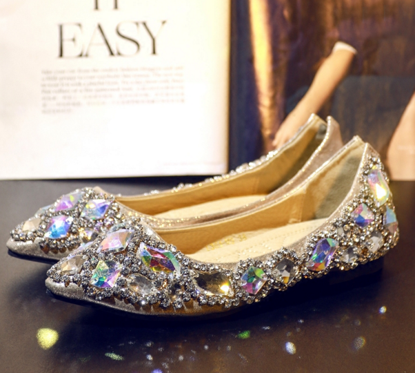 Custom Wedding Ballet Flats Shoes Sparkle Bride Bridesmaid Shoe Swarovski Shiny