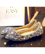 Custom Wedding Ballet Flats Shoes Sparkle Bride Bridesmaid Shoe Swarovsk... - $125.00