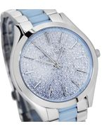 BRAND NEW WOMENS MICHAEL KORS (MK4297) CHAMBRAY ACETATE BLUE TONE WATCH - $139.00
