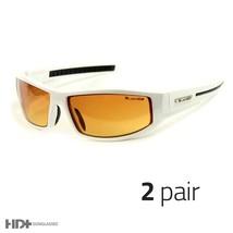 2 Pair Sport Wrap Hd Night Driving Sunglasses High Definition Glasses White L - $11.99