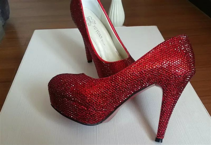 Ruby Red Pumps Wedding Shoes Rhinestone Bridal Shoes Glitter Prom Shoes Heels