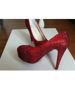 Ruby Red Pumps Wedding Shoes Rhinestone Bridal Shoes Glitter Prom Shoes ... - £101.70 GBP