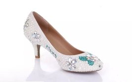 White Wedding Shoe clean teal rhinestone kitten bridal shoes low heels b... - $145.00