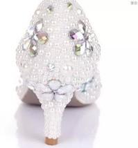 White Wedding Shoe clean teal rhinestone kitten bridal shoes low heels butterfly image 2