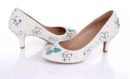 White Wedding Shoe clean teal rhinestone kitten bridal shoes low heels butterfly image 3