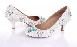 White Wedding Shoe clean teal rhinestone kitten bridal shoes low heels butterfly image 4
