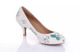 White Wedding Shoe clean teal rhinestone kitten bridal shoes low heels butterfly image 5