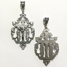 Crucifix Virgin Mary & Magdalene on the foot of the Cross Medal Pendant Silver - $15.99
