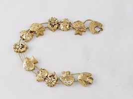Charm Bracelet,  ~ Mushrooms & Flowers TOFA Classic Slider, Gold Toned #... - $9.75