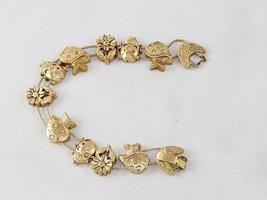 Charm Bracelet,  ~ Mushrooms & Flowers TOFA Classic Slider, Gold Toned #... - £7.34 GBP