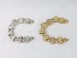 Charm Bracelet, Sleeping Pigs In Beds, Classic TOFA Slider ~ Gold or Sil... - $9.95