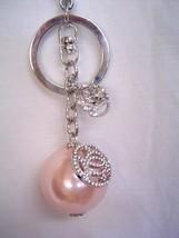 New BEBE in Silver Pink Pearl Rhinestones Key Fob 212663 - $22.00