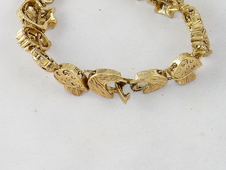 Charm Bracelet,  ~ Mushrooms & Flowers TOFA Classic Slider, Gold Toned #5430510