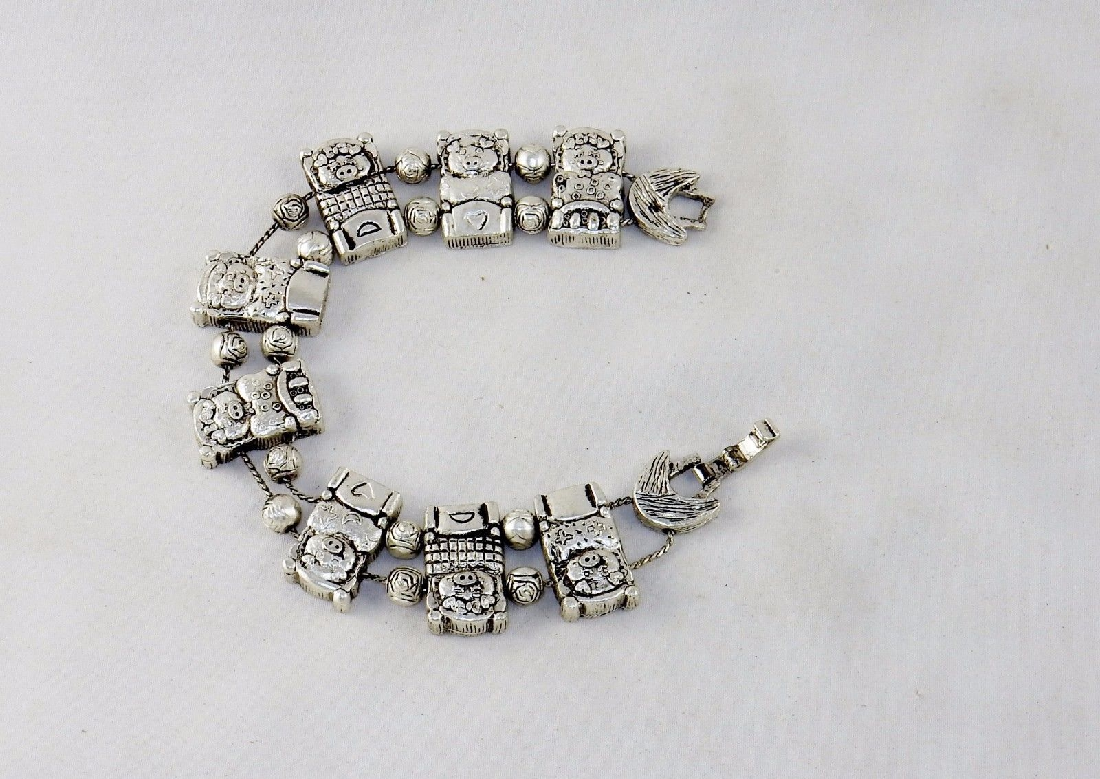 Charm Bracelet, Sleeping Pigs In Beds, Classic TOFA Slider ~ Gold or Silver Tone