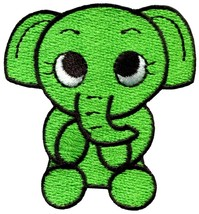 Elephant baby animal green applique iron-on patch S-217 - $2.95