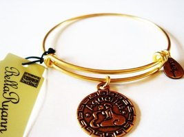 "Authentic Bella Ryann ""Aquarius Zodiac "" adjustable wire bangle russian gold...."